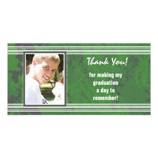 Graduation Thank You Photo Card Stripes Green Gray