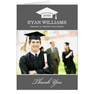 Graduation Thank You Photo Cards | Charcoal Gray