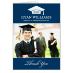 Graduation Thank You Photo Cards | Navy Blue White
