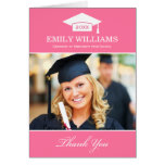 Graduation Thank You Photo Cards   Pink and White