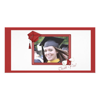 Graduation Thank You Red Photo Greeting Card