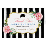 Graduation Thank You Watercolor Floral Stripes Note Card