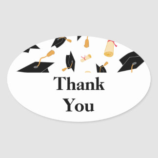 Graduation Theme Cap and Diploma Black Gold White Oval Sticker
