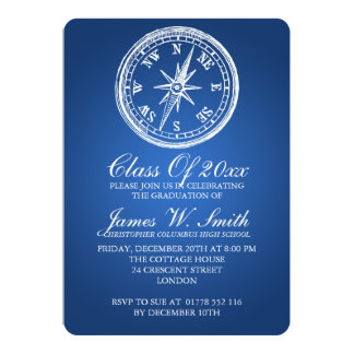 Graduation Vintage Compass Blue Card