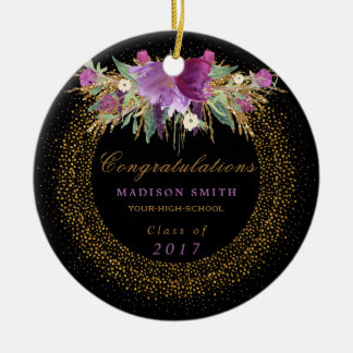 Graduation Watercolor Glitter Flower Gold Confetti Christmas Ornament