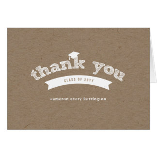 Graduation White Sketch Kraft Photo Thank You Card