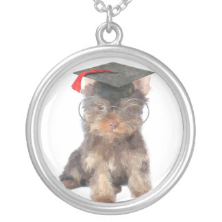 Graduation Yorkshire Terrier Silver Plated Necklace