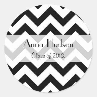 Graduation - Zigzag Pattern, Chevron - Black Round Sticker