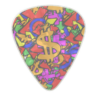 Graffiti .80mm Guitar Picks, Pearl Celluloid Pearl Celluloid Guitar Pick