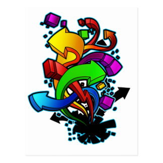 Graffiti Abstract Art Postcard