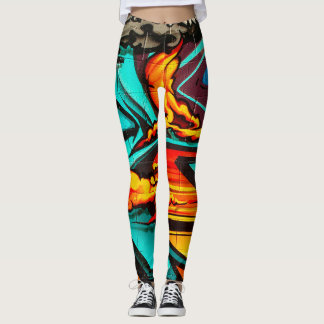 Graffiti Abstract Flame Leggings