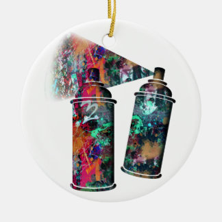 Graffiti and Paint Splatter Spray Cans Christmas Ornament