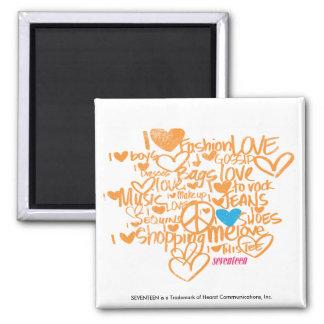 Graffiti Aqua/Orange Square Magnet