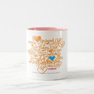 Graffiti Aqua/Orange Two-Tone Coffee Mug