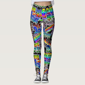 Graffiti Art Leggings, Black Colorful Leggings