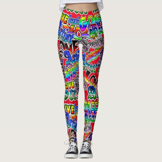 Graffiti Art Leggings, Red Colorful Leggings