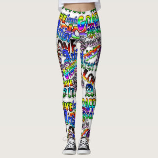 Graffiti Art Leggings, White and Colorful! Leggings