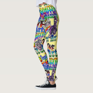 Graffiti Art Leggings, Yellow Colorful Leggings
