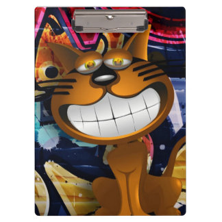 Graffiti Art Smiling Cat Clipboard