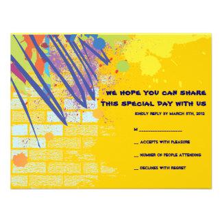 Graffiti Artist Bar Bat Mitzvah Invite Reply Card