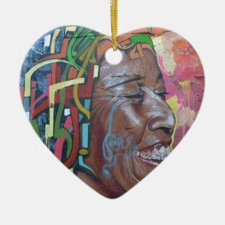 Graffiti Artwork Face Ceramic Heart Decoration