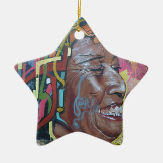 Graffiti Artwork Face Ceramic Star Decoration