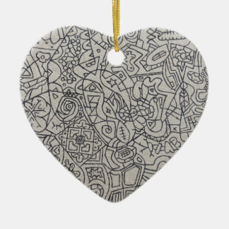 Graffiti Artwork Line Work Ceramic Heart Decoration