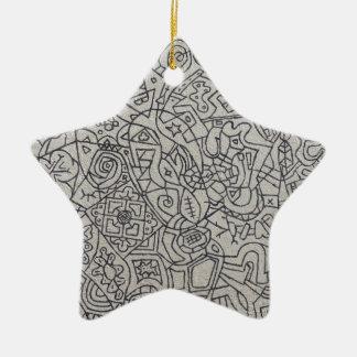 Graffiti Artwork Line Work Ceramic Star Decoration