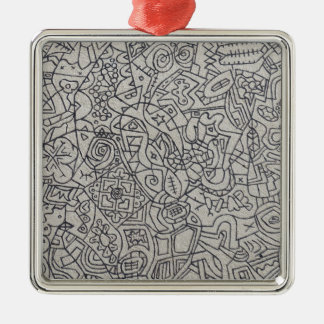 Graffiti Artwork Line Work Silver-Colored Square Decoration