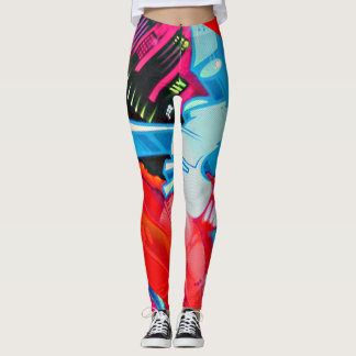 Graffiti Blue and Red Pattern Streetwear Leggings