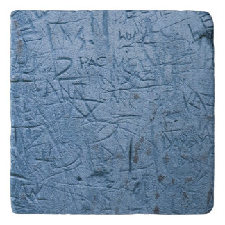 Graffiti Blues Marble Trivet