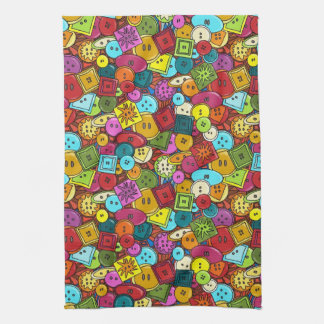 graffiti buttons tea towel