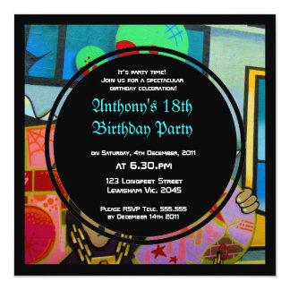 Graffiti Cool Face Birthday Invitation
