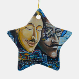 Graffiti faces ceramic star decoration