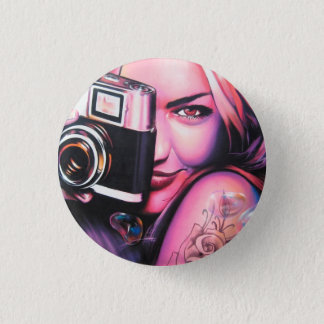 Graffiti Girl Photographer 3 Cm Round Badge