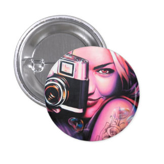Graffiti Girl Photographer 3 Cm Round Badge