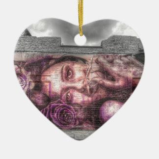 Graffiti Girl, Shoreditch London Ceramic Heart Decoration