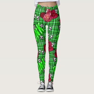Graffiti green snotty punk and roses tartan leggings