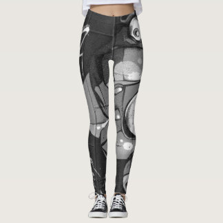 Graffiti Grey Abstract Leggings