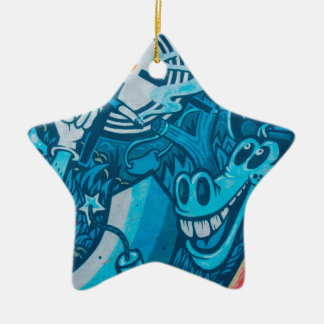 Graffiti horse ceramic star decoration