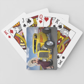 Graffiti Hot Rod Coupe and Pin Up Girl Beauty Playing Cards