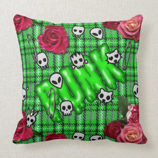 Graffiti inspired green snotty punk tartan emoji cushion