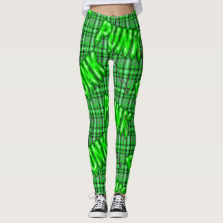 Graffiti inspired green snotty rotten punk tartan leggings