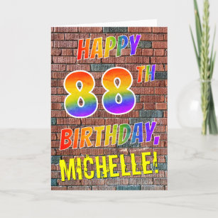 Graffiti Inspired Rainbow Look HAPPY 88TH BIRTHDAY Card