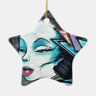 Graffiti lady ceramic star decoration