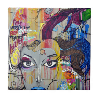 graffiti lady tile