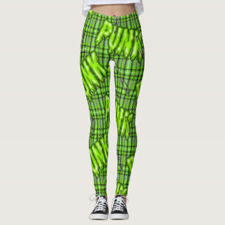 Graffiti lime green snotty rotten punk tartan leggings