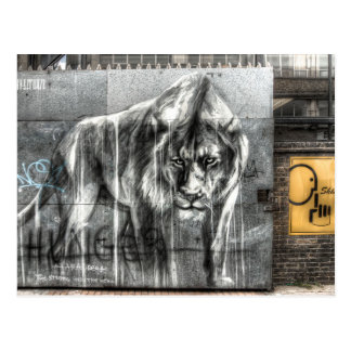 Graffiti Lion, Shoreditch London Postcard