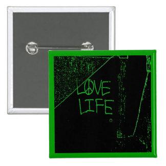 Graffiti Love Life Neon Green Button