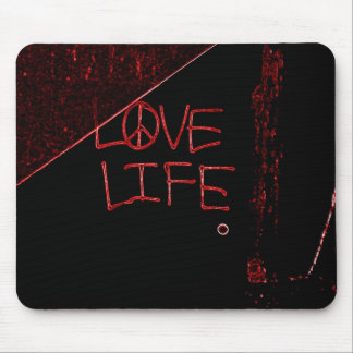 "Graffiti ""Love Life"" Neon Red Mouse Pad"